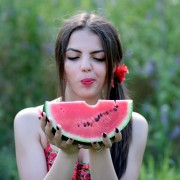 Red Melon Beauty Nature Summer Girl