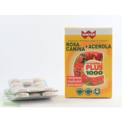 VITAMINA C PLUS 1000 ROSA CANINA + ACEROLA 30 Compresse masticabili gusto arancia INTEGRATORE ALIMENTARE WINTER